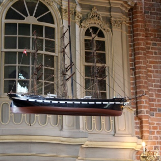 Hanging ship in church